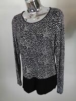 WOMENS OASIS BLACK/WHITE WILD PATTERN LONG SLEEVED BLOUSE CASUAL SIZE M MEDIUM