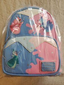 Exclusive Disney Loungefly Sleeping Beauty Pink Blue Fairies Mini Backpack