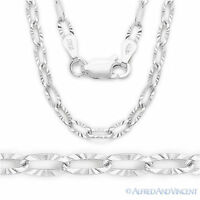 3mm Paper Clip Cable Link Chain Necklace in Italy .925 Sterling Silver & Rhodium