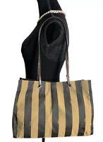 Fendi Authentic Vintage 90s Logo Penguin Stripe Canvas Tote Bag Brown Black