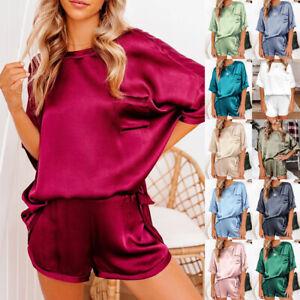 Women Faux Silk Satin Pajamas Pj 2Pcs Sets Pyjama Sleepwear Nightwear Top+Shorts