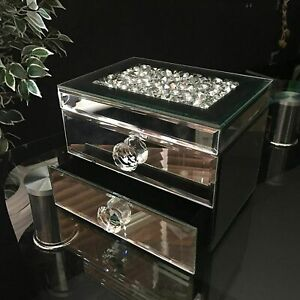 NEW JEWELLERY BOX CRUSHED CRYSTAL JEWEL TRINKET GLASS  BOX TOP OPEN 2 DRAWER