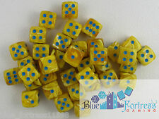 CHESSEX vortex 12mm SET OF 36 D6 YELLOW WITH BLUE DICE FOR MTG POKEMON WARHAMMER