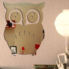 3D Mirror Wall Stickers Owl Acrylic Art Decal Removable Stickers Home Room Decor