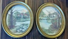 2 HOMCO HOME INTERIOR OVAL FRAMED PRINTS F. MASSA 1983 COUNTRY SCENES