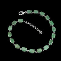 Unheated Oval 7x5mm Top Rich Green Emerald 925 Sterling Silver Bracelet 9 Inch