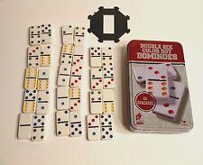 Dominoes Set Double 6 Six Color Dot 28 Dominoes in Metal Tin C141