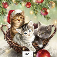 (651) TWO Individual Paper Luncheon Decoupage Napkins - KITTENS BASKET CHRISTMAS