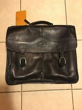 Santa Fe Leather Black Flap Over Messenger Briefcase Bag Laptop Business Satchel