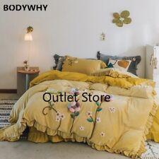 Handwork Embroidery Velvet Bedding Set Fleece Fabric Ruffle Cover Bed Sheet