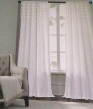 "NIP Shabby Cynthia Rowley PAIR WHITE RUFFLE TOP Chic Cotton CURTAINS~104""Wx84""L"