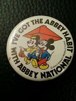Mickey Minnie Mouse ABBEY NATIONAL Disney RARE Old BUTTON Safety Pin BADGE Pins