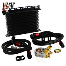 15 Row Thermostat Adaptor Engine Transmission Oil Cooler Kit For Car/Truck