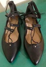 CARA London Black Leather Lace Up Pumps Shoes UK Size 7 EU 40 NEW