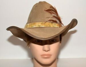 Vintage Winfield Cover Co Suede Leather Edge Side Feathers Cowboy Hat Size M USA