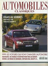 AUTOMOBILES CLASSIQUES n°95 12/1998 PORSCHE CARRERA4 MERCEDES S500 CHRYSLER GHIA