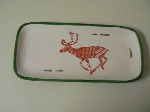 Creative Co-Op Green Trim Ceramic Plate with Red Reindeer Merry Christmas White