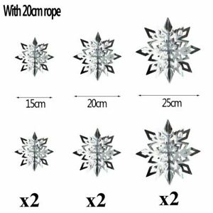 Christmas Snowflake 6Pcs White Silver Gold Home Decorations Ornaments Garland