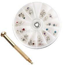 Nail Art Charm Piercing Hand Drill Tip Hole Pierce Tool 24 Pendants Dangle Decor