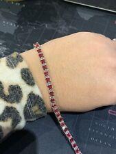 "Silver Costume Jewellery Faux Diamond & Pink Sapphire Tennis Bracelet 7.5"""