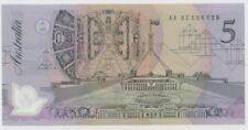 Banknote $5 Fraser Cole polymer black prefix AA83 catalogue No Mc301a/1