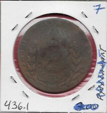 BRAZIL EMPIRE COUNTERMARKED COINAGE 20 REIS ON 40 REIS 1826R VF #7 D.PEDRO I NAT