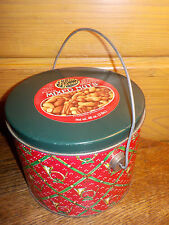 Vintage Christmas Bucket Tin *Golden Kernel Mixed Nuts * Bugle Wreath Design