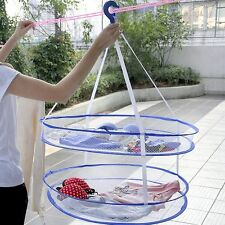 New Laundry Hanger Dryer Foldable Clothes Basket 2 Tiers Mesh Net Drying Rack