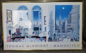 "1995 THOMAS MCKNIGHT "" MANHATTAN NEW YORK 11"" X 18"" Gold Framed"