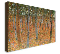 BEECH GROVE GUSTAV KLIMT PICTURE FRAMED CANVAS WALL ART - Various sizes