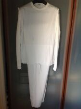 MOSCHINO $1750 MENS SPORT WHITE COTTON SUITE  PRE-OWNED SZ. LARGE ITALY 🇮🇹