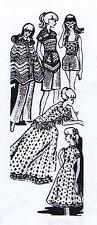 1960s Crochet PATTERN 7362 Barbie Midge clothes cape dress hot pants shawl short