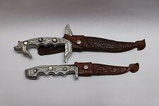 Pair of Philipines Souvenier Knives Matching Old Unique Original Scabbards Cebu