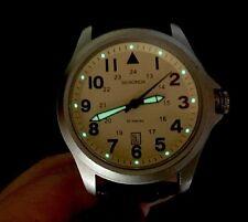 Mens Sekonda Watch Cream Dial Brown Leather Strap Luminous Japan MVT( P147
