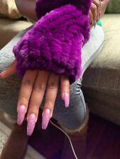 Alaskan Purple Rabbit Fur Fingerless Gloves