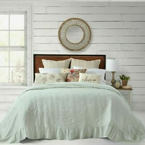 Bee & Willow Matelasse Mint KING Cotton Bedspread Shabby Chic Farmhouse Ruffle