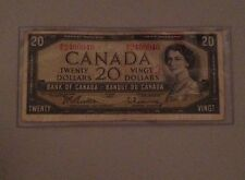 Beautiful 1954 Bank Of Canada $20 Note Canadian Bill Rare Currency Paper Money