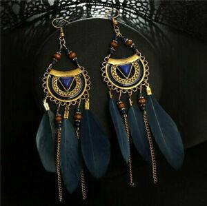 Vintage Women's Bohemian Boho Style Tibetan Feather Tassel Dangle Earrings Gift