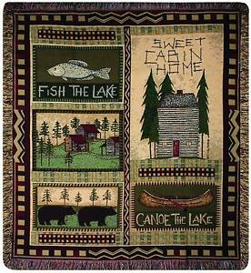 Bear Tapestry Throw Blanket Cabin Lodge Rustic Fish Bed Couch Chair 50 x 60 New