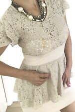 ALANNAH HILL WOMENS DRESS PEPLUM FLORAL LACE IVORY ZIP SIDE SZ 12