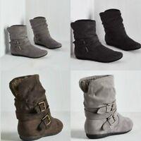 Damen Winter Gefüttert Stiefel Biker Abkle Boots Schuhe Stiefeletten Unifabre PD