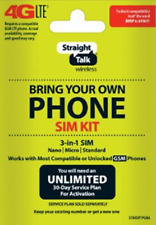 Straight Talk Bring Your Own Phone (Byop) 3 size in 1 Sim card Kit At&T C.