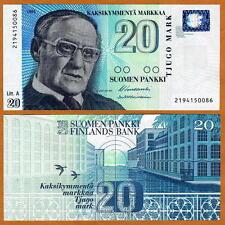 Finland, 20 Markkaa, 1993 (1997)  P-123, pre-Euro, UNC