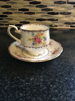 Vintage Royal Albert Footed Cup and Saucer-petit Point China- Made In England