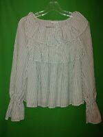 1870) NWT GAP x-small XS black white stripe short waist flare blouse cotton XS