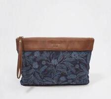 Abercrombie & Fitch Embellished Canvas Clutch Purse Bag Indigo Floral Blue - NWT