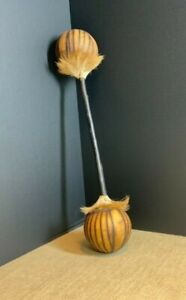 African percussion, handmade double gourd rattle with fur trim