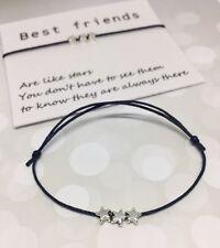 Best Friend wish bracelet - Friendship BFF star charm black on tag