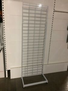 Slat Grid 1800Hx600W with Single Sided Legs-White