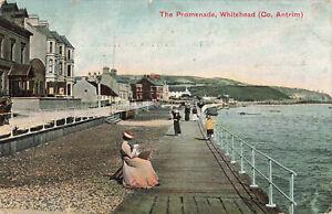 Rare Vintage Postcard - The Promenade, Whitehead - Antrim N.Ireland (Aug 1904).